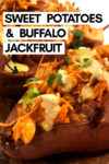 "an array of buffalo jackfruit sweet potatoes with a text overlay that reads ""sweet potatoes & buffalo jackfruit"" with an arrow pointing toward a potato"