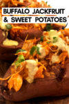 "an array of buffalo jackfruit sweet potatoes with a text overlay that reads ""buffalo jackfruit & sweet potatoes"" with an arrow pointing toward a potato"