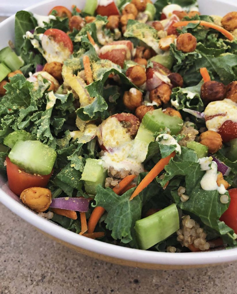 bowl filled with buffalo chickpea salad