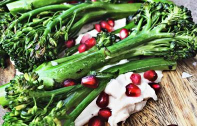 broccolini with white bean hummus and pomegranate