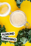 """jar of almond dijon dressing surrounded by kale leaves and a text overlay that reads """"almond dressing"""""""