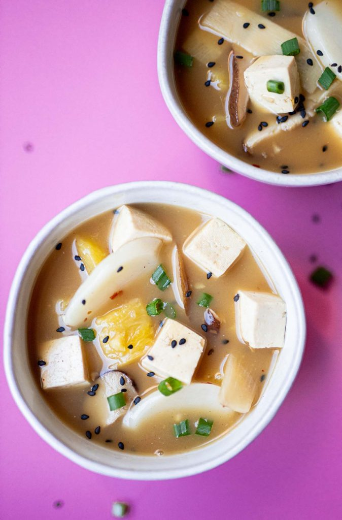two bowls of hot and sour soup