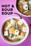 """two bowls of vegan hot and sour soup and a text overlay that reads """"vegan hot and sour soup"""" with an arrow pointing toward one of the bowls"""