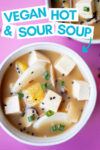 """two bowls of hot and sour soup and a text overlay that reads """"vegan hot & sour soup"""" with an arrow pointed toward the bowl"""