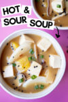 "two bowls of hot and sour soup and a text overlay that reads ""hot & sour soup"" with an arrow pointed toward the bowl"