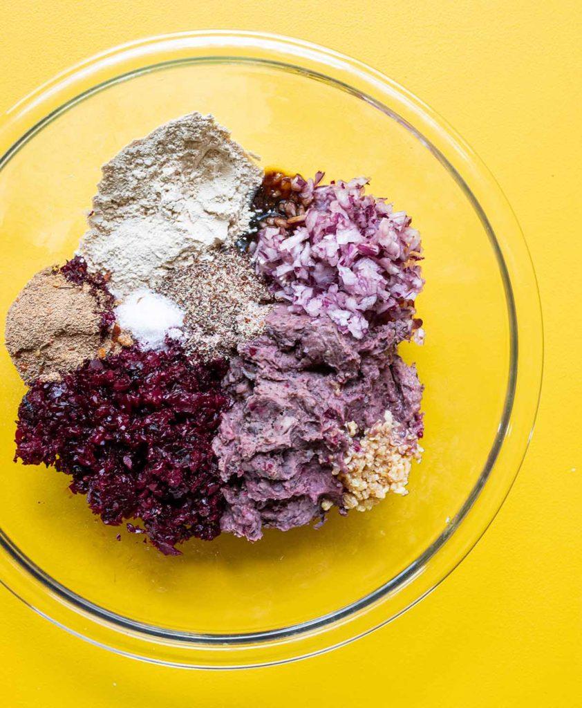 ingredients to make beet burgers in a bowl