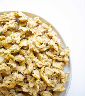 chicken seitan pieces on a plate