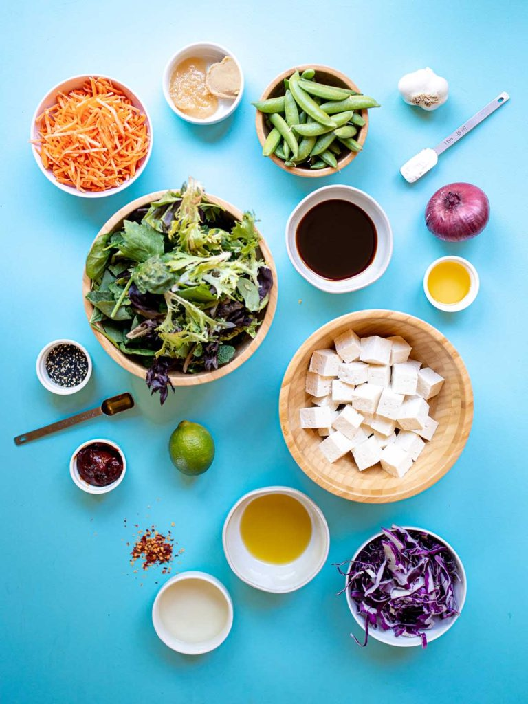 an ingredient spread of lettuce, carrots, miso, ginger, snap peas, garlic, cornstarch, soy sauce, sesame oil, red onion, tofu, lime, agave, sesame seeds, gochujang, red cabbage, evoo, red pepper flakes, and rice vinegar on a blue background