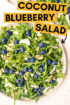"two plates of arugula blueberry salad with a text overlay that reads ""coconut blueberry salad with an arrow pointing toward the main plate in the frame"