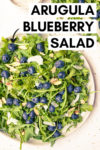 "two plates of arugula blueberry salad with a text overlay that reads ""arugula blueberry salad with an arrow pointing toward the main plate in the frame"
