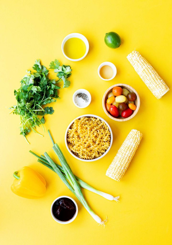 ingredient spread for chipotle corn pasta salad