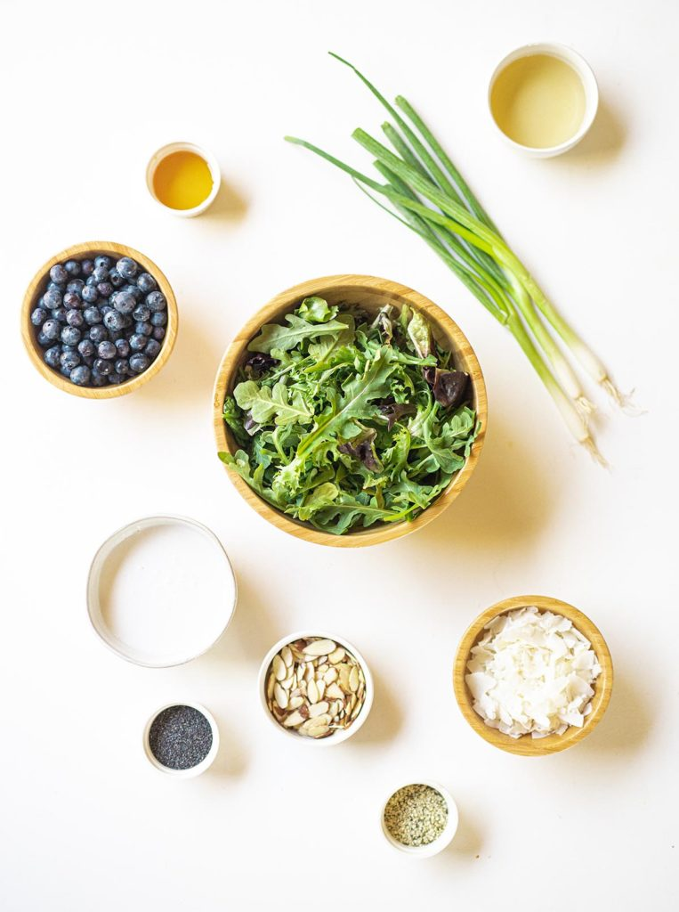 ingredient spread for arugula blueberry salad