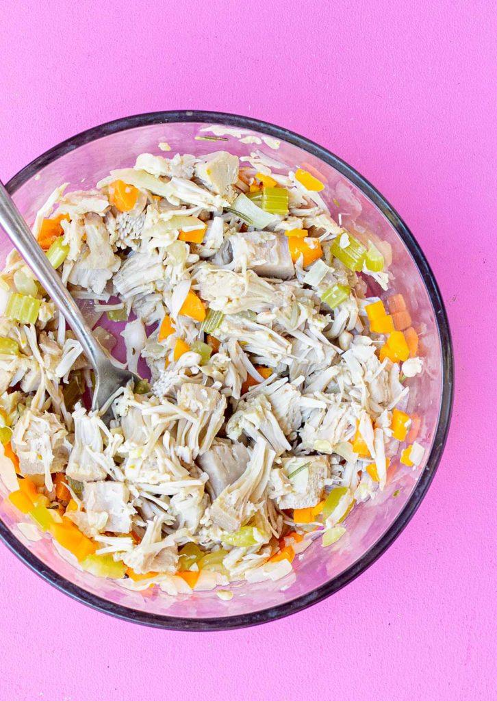 bowl of jackfruit forked apart