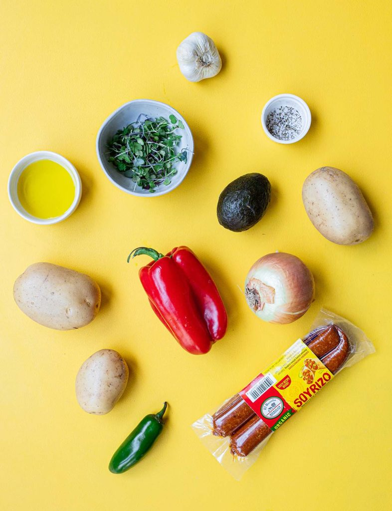 ingredient spread for roasted breakfast potatoes with soyrizo