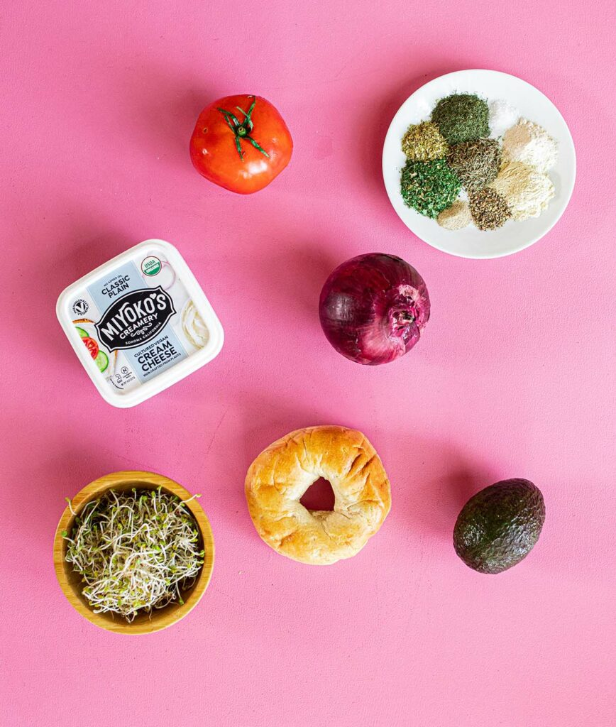 ingredient spread to make bagel sandwiches with herb cream cheese