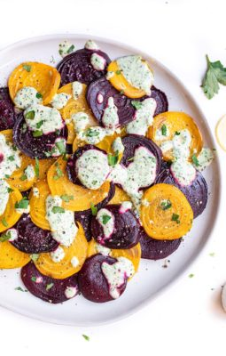 plate of roasted beet salad with green goddess dressing