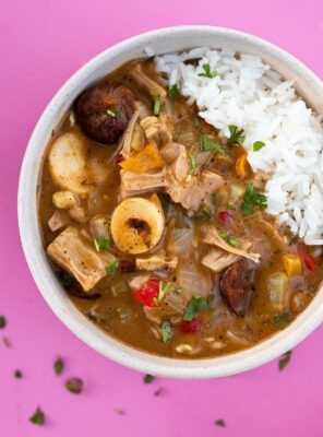 bowl of vegan cajun gumbo