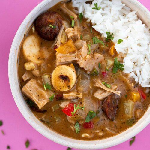 bowl of vegan cajun gumbo