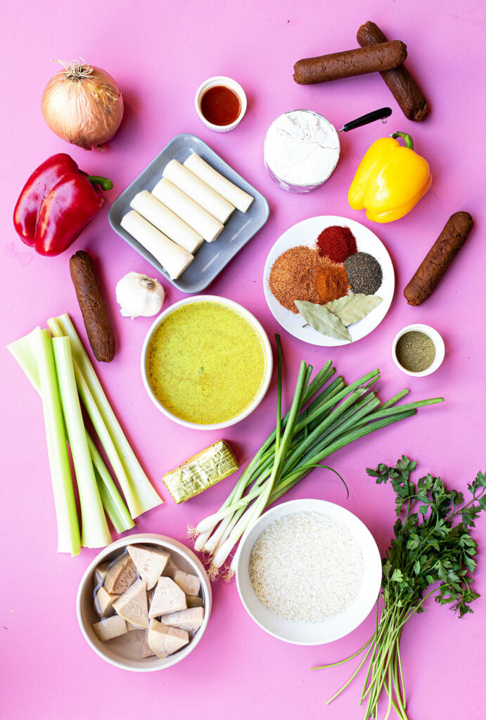 ingredient spread for everything needed to make vegan cajun gumbo