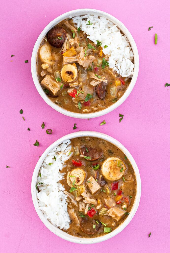 two bowls of vegan gumbo
