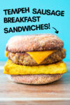 "one vegan breakfast sandwich with a blue background and a text overlay that reads ""tempeh sausage breakfast sandwiches"" and an arrow pointing toward the sandwich"
