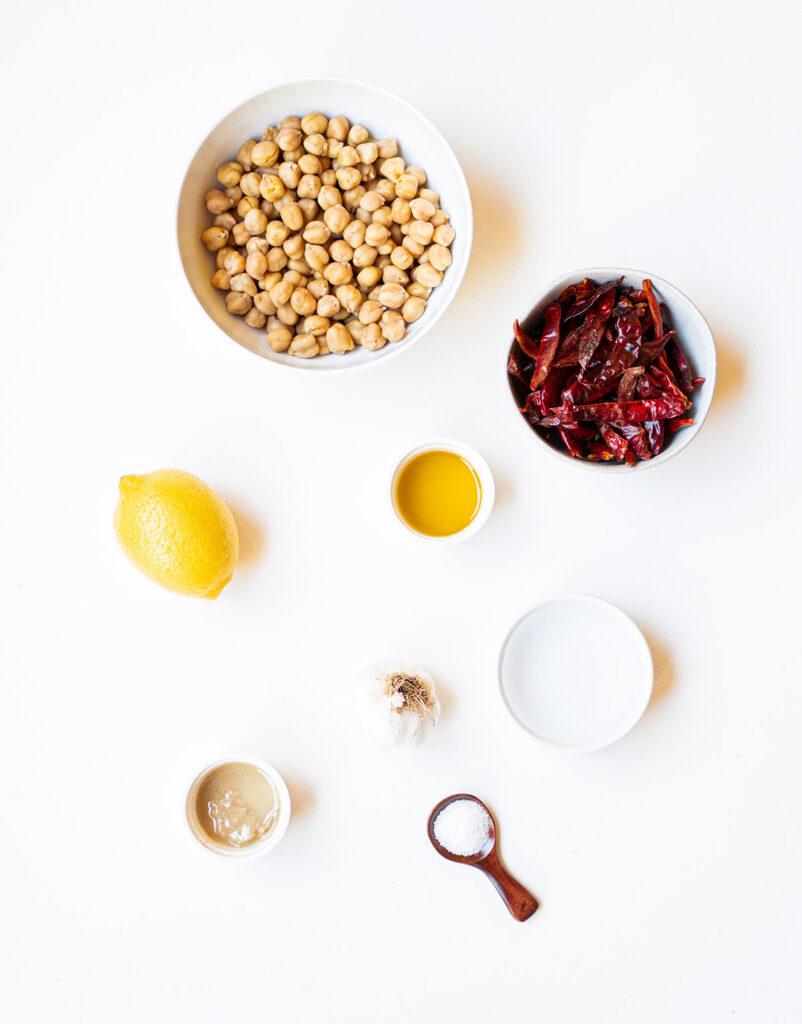 ingredient spread to make spicy chile de árbol hummus