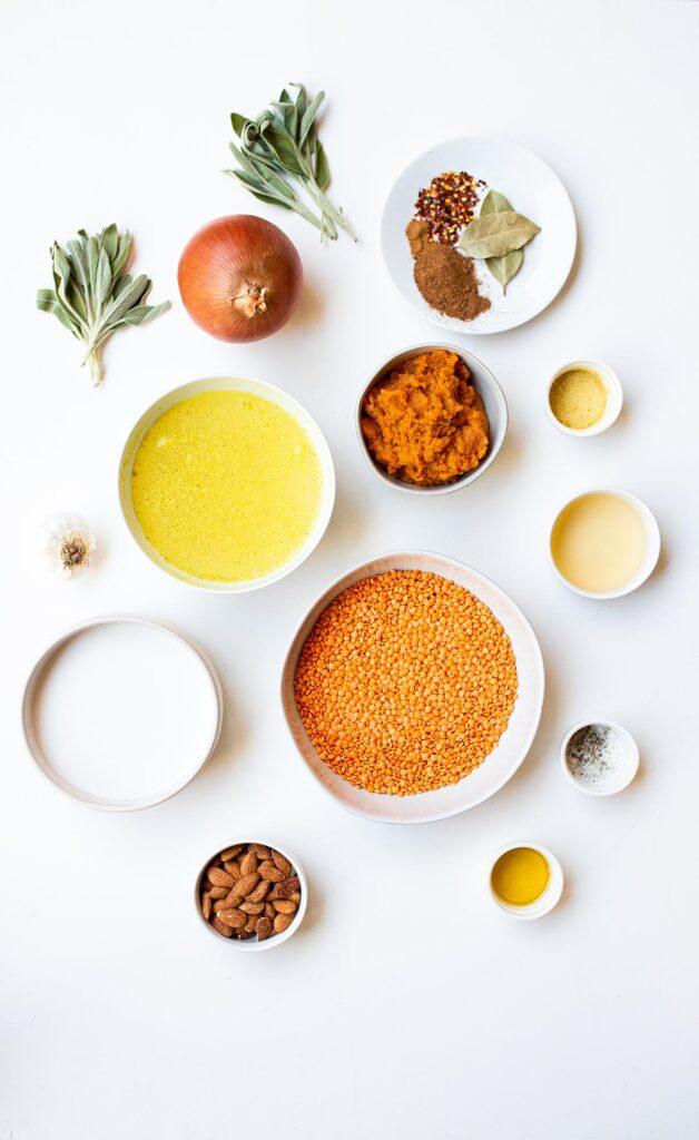 ingredient spread for pumpkin lentil soup