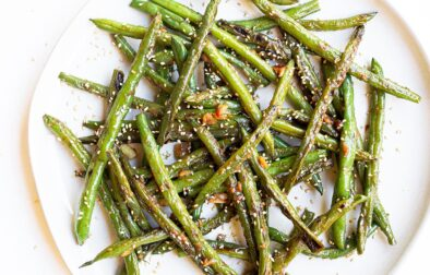 sesame miso green bean on a plate