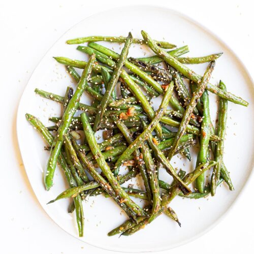 sesame miso green bean on a plate
