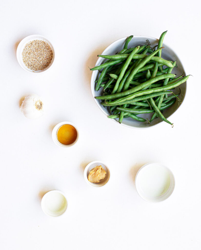 ingredients spread to make sesame miso green beans