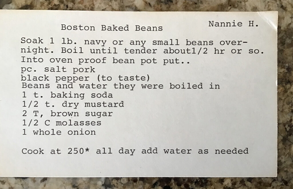 nannie's recipe card for boston baked beans