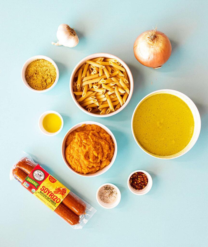 ingredient spread to make pumpkin pasta with soyrizo