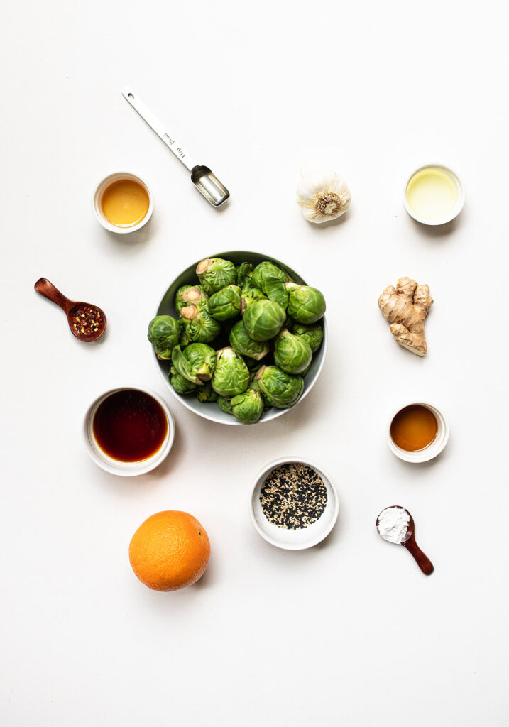 ingredient spread for orange sesame brussels sprouts