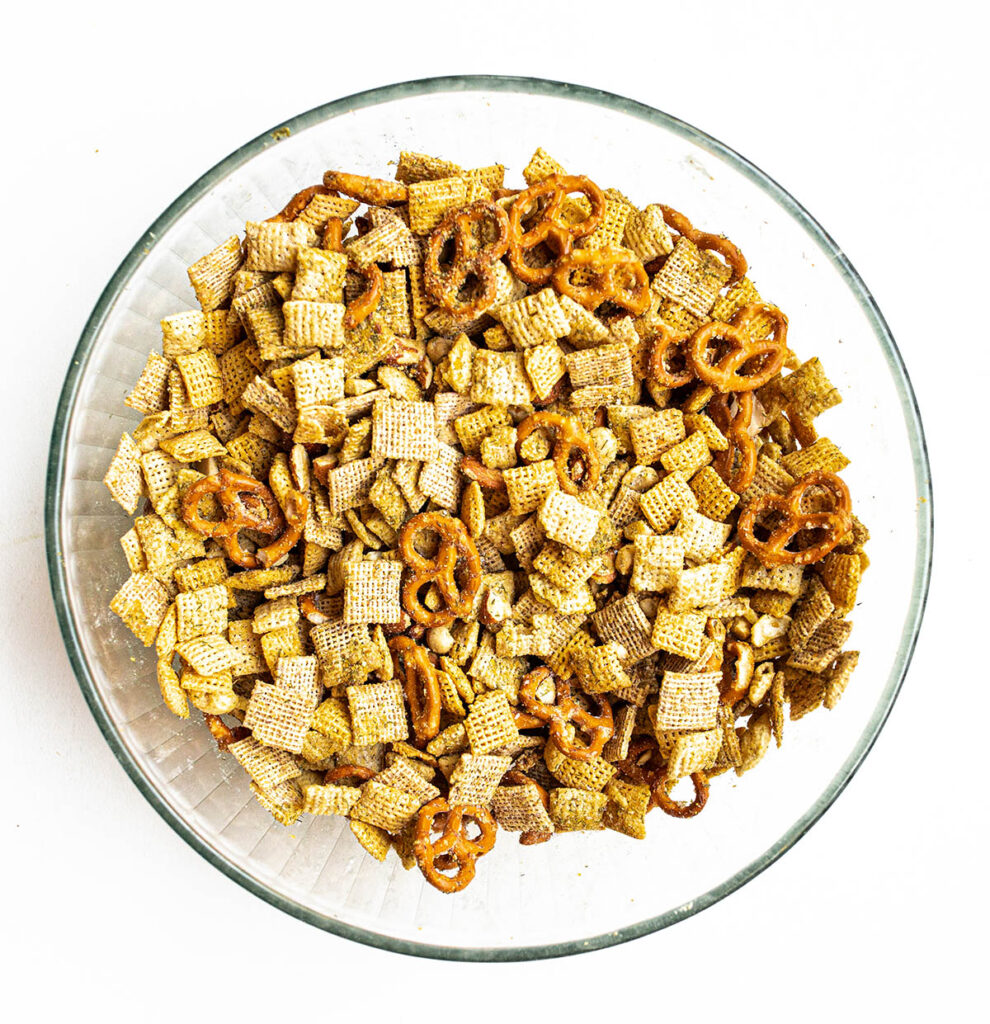 pre-baked sour cream and onion snack mix in a large bowl