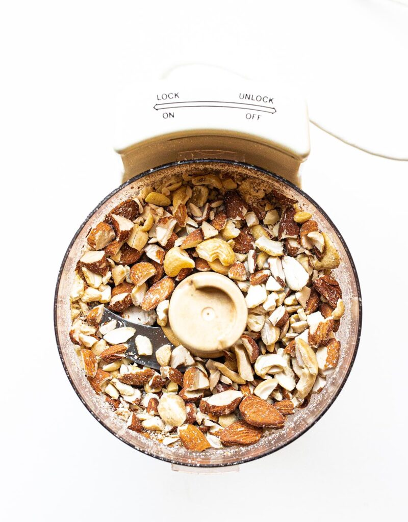 chopped nuts in a food processor