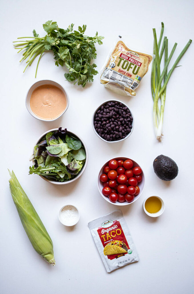 ingredient spread for southwest tofu salad with tofu