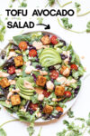 "southwest salad with tofu and chipotle ranch dressing surrounded by cilantro leaves and a text overlay that reads ""tofu avocado salad"""