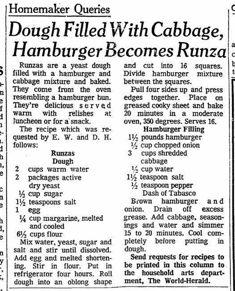 vintage Runza recipe from the Omaha World-Herald
