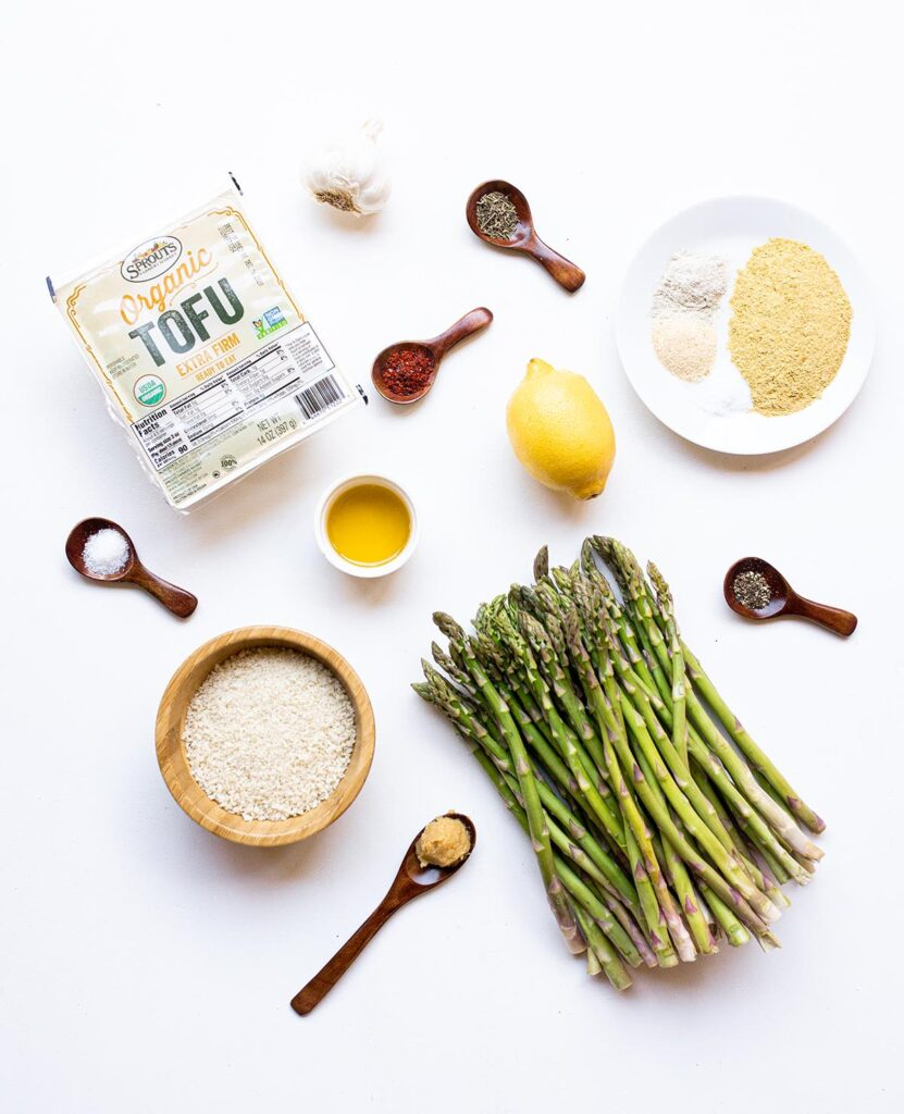 ingredient spread for stovetop asparagus with tofu ricotta and spicy bread crumbs