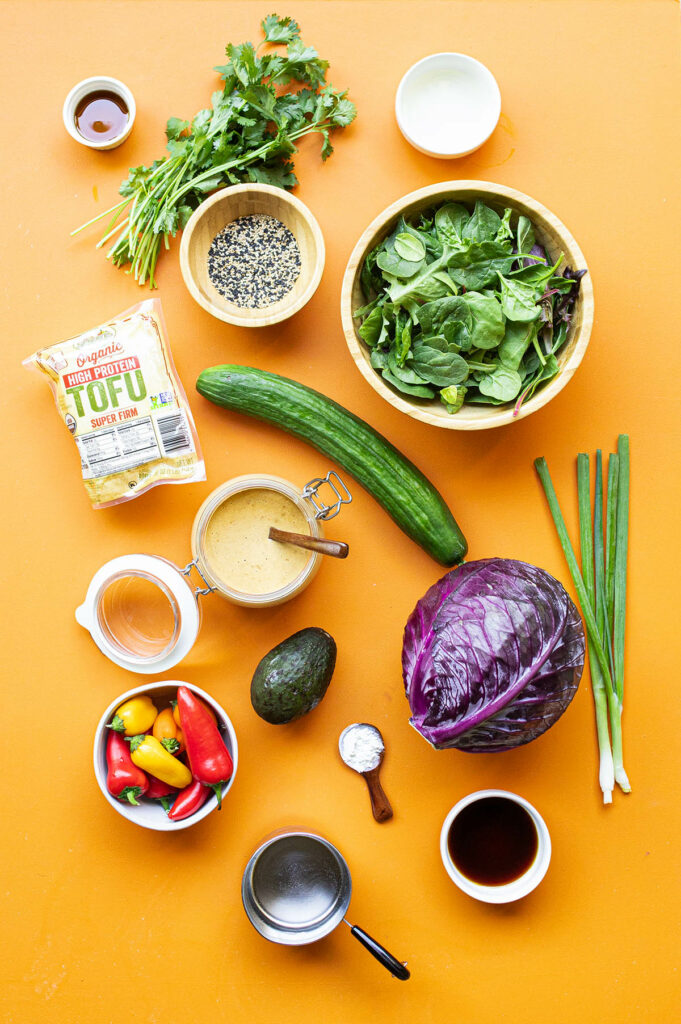 ingredient spread for sesame crusted tofu salad