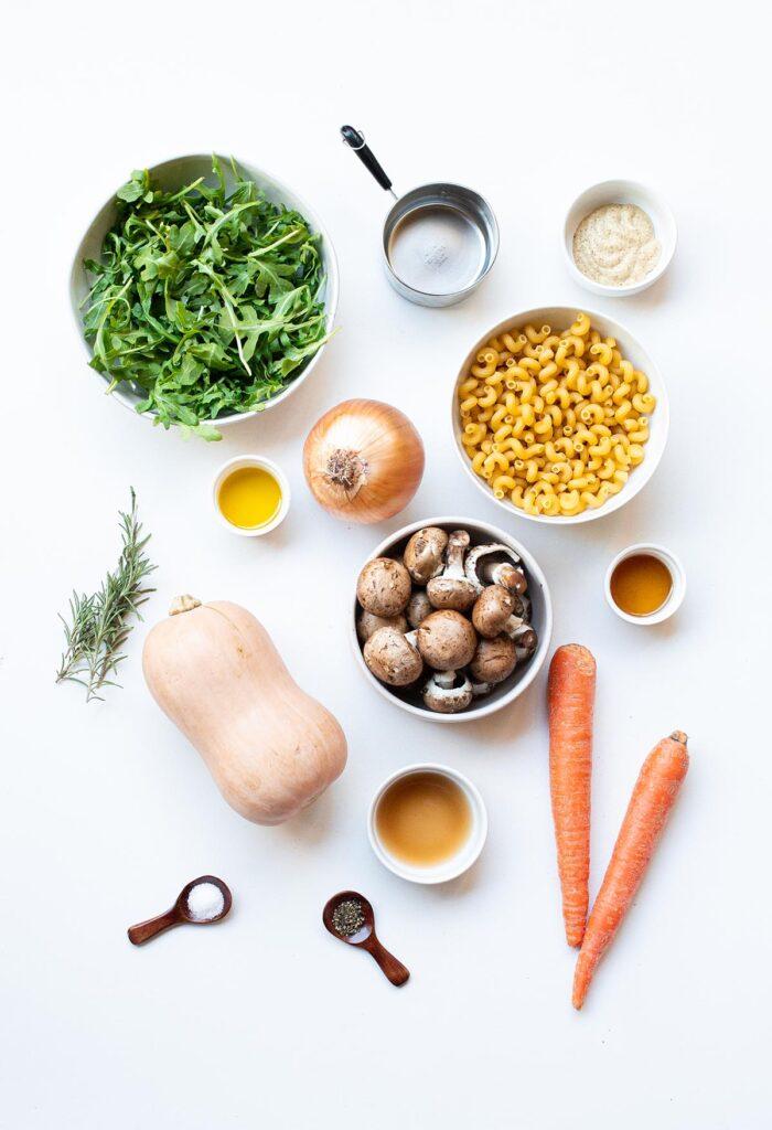 ingredient spread for winter vegetable pasta salad