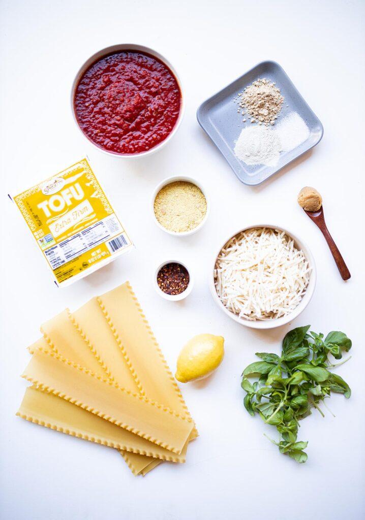 ingredient spread for vegan lasagna roll ups