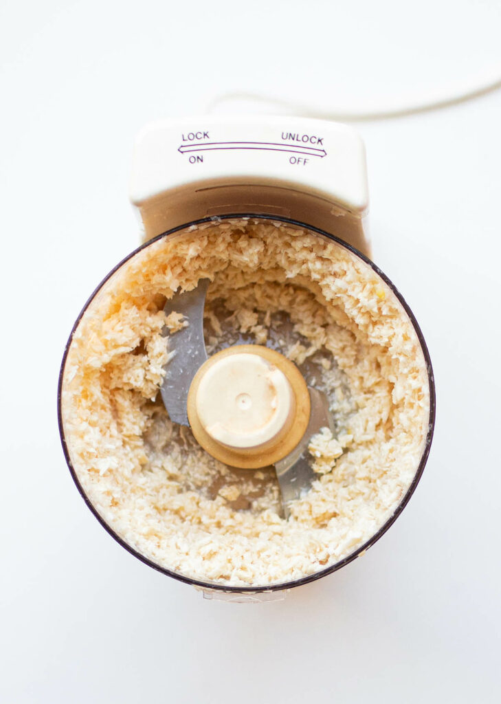 prepared horseradish in a food processor