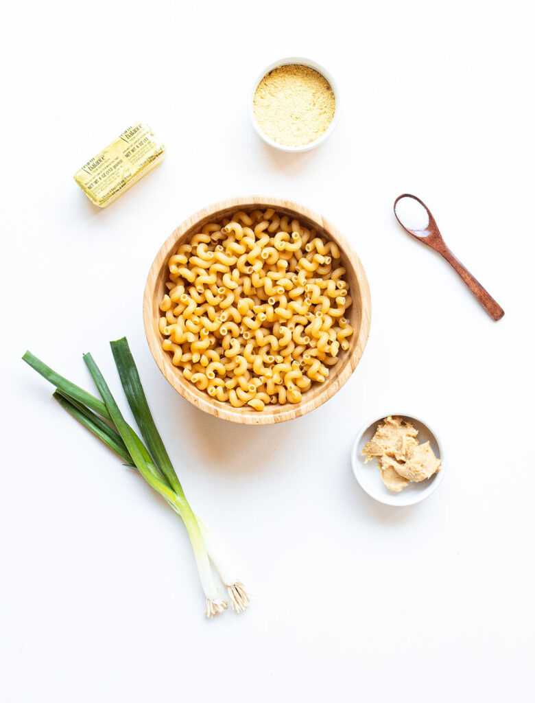 ingredient spread for miso butter noodles