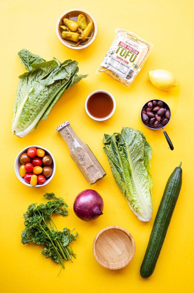 ingredient spread for vegan greek salad