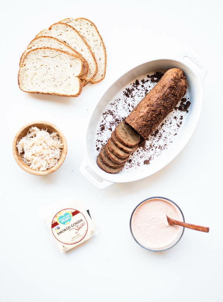 ingredient spread for vegan reuben sandwiches