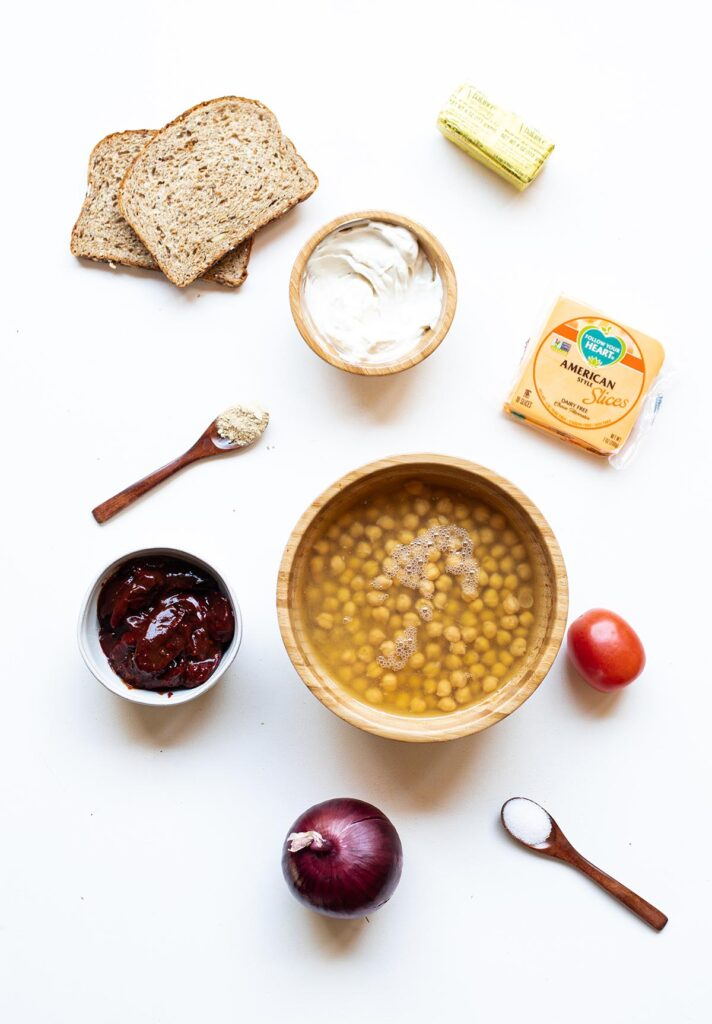 ingredient spread to make chipotle chickpea melts