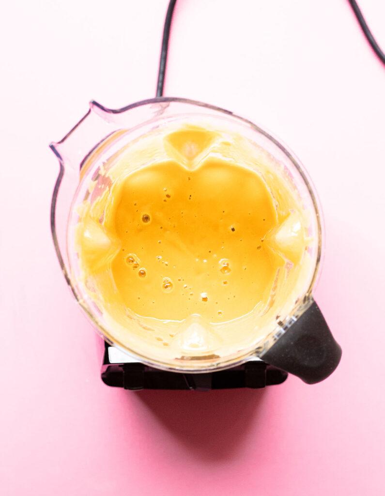 oil-free nacho cheese in a blender
