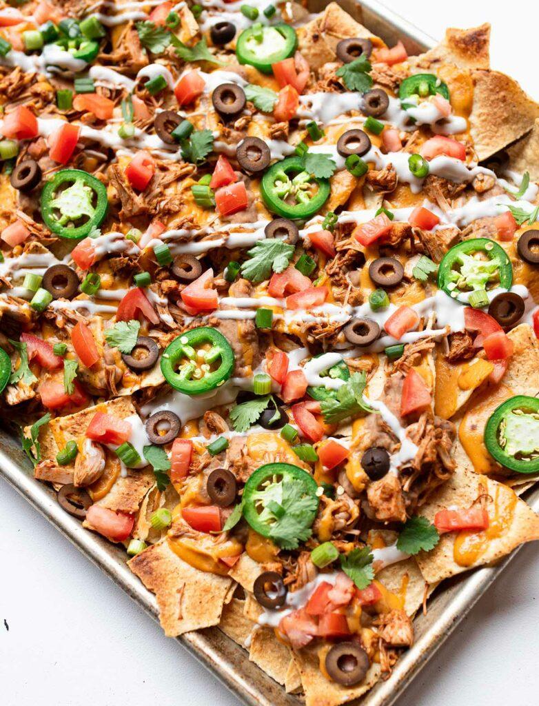 large sheet pan of vegan nachos
