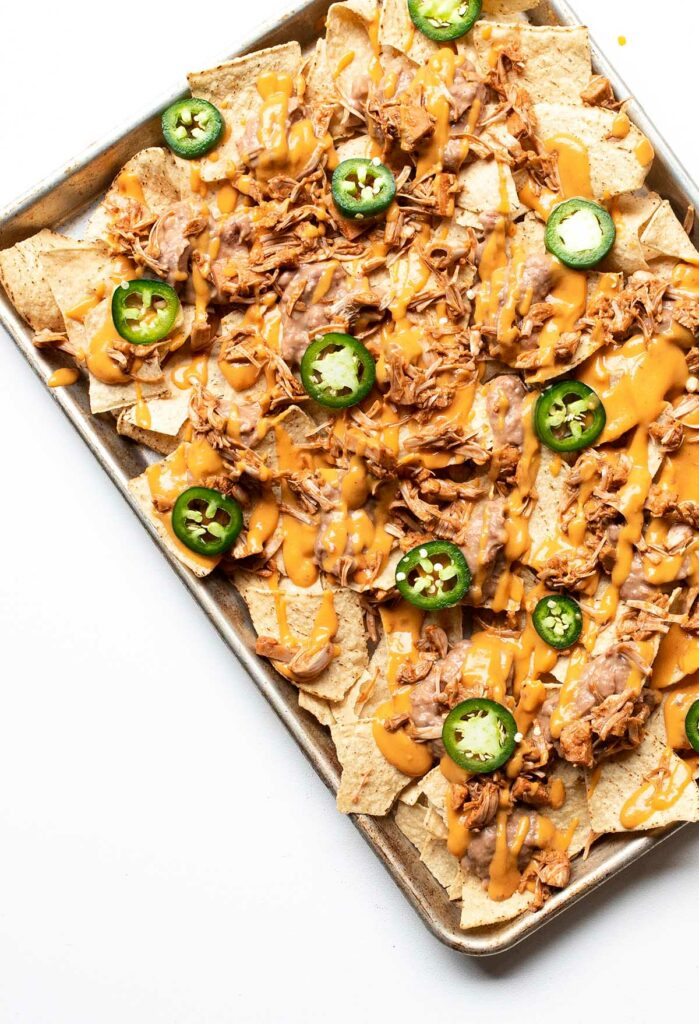 first layer of nachos pre-broiled
